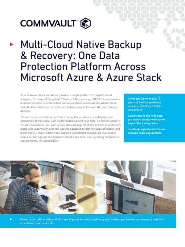 Multicloud Native Backup and Recovery: Eine Datenschutzplattform für Microsoft Azure und Azure Stack