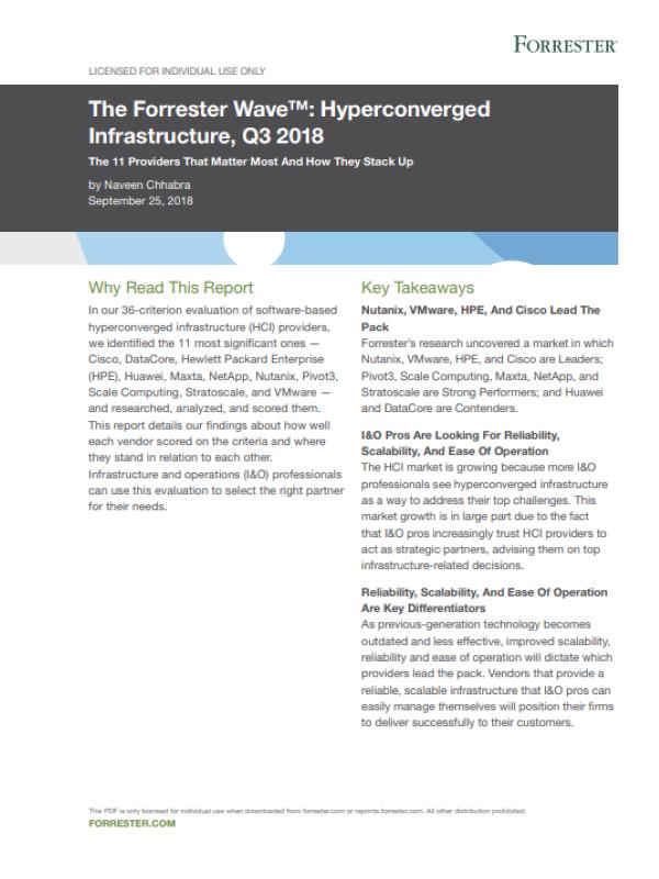 The Forrester Wave™: Hyperkonvergente Infrastruktur, Q3 2018