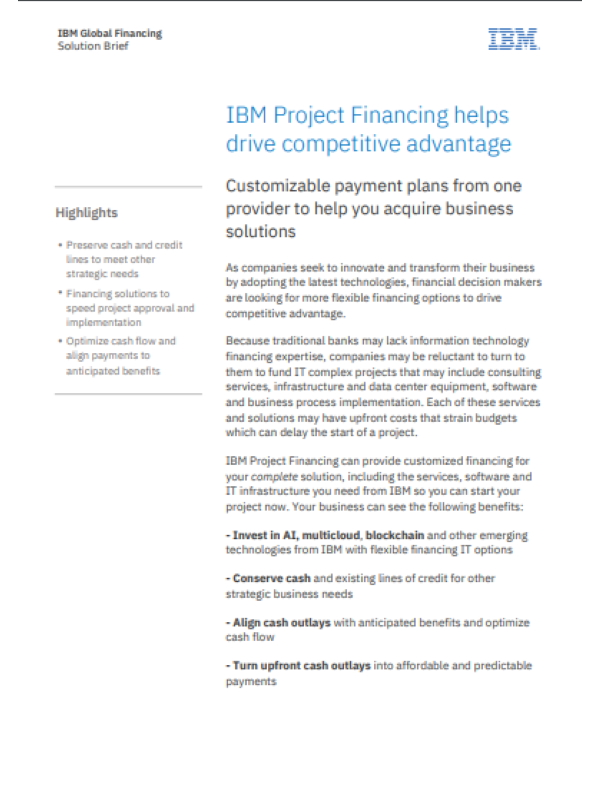 Wettbewerbsvorteile mithilfe von IBM Project Financing erzielen