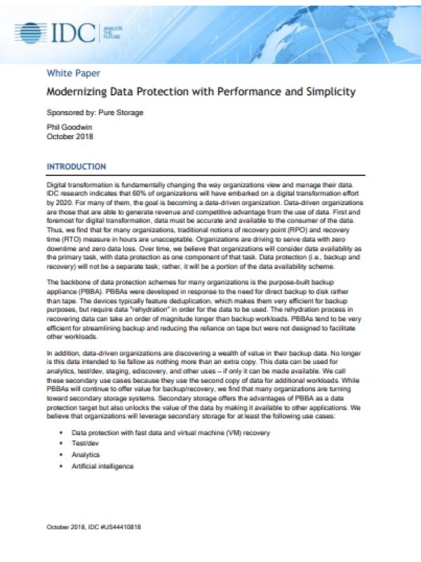 Modernisierung des Datenschutzes mit Leistung und Einfachheit