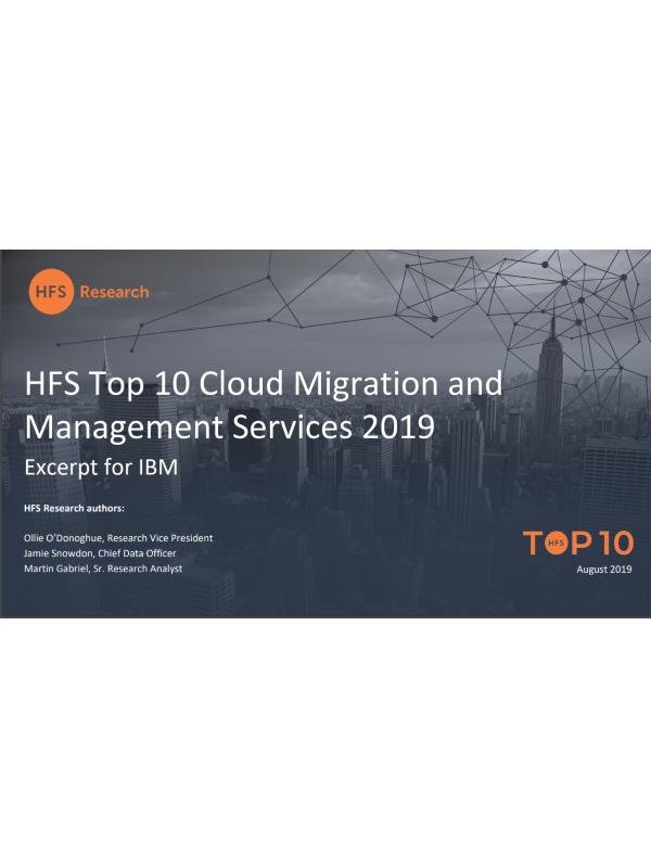 Auszug aus HFS Top 10 Cloud Migration und Management Services 2019 für IBM