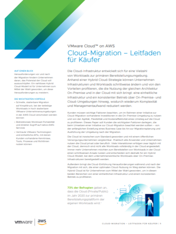 VMware Cloud™ on AWS: Cloud-Migration – Leitfaden für Käufer