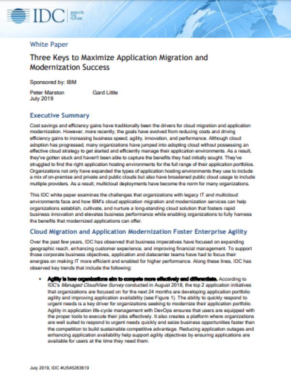 Drei Schlüssel zur Maximierung des Erfolgs der Anwendungsmigration und -modernisierung