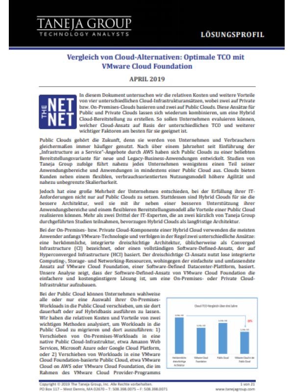 Vergleich von Cloud-Alternativen: Optimale TCO mit VMware Cloud Foundation
