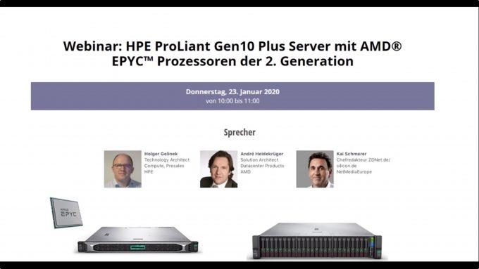 Webinar-Aufzeichnung: HPE ProLiant Gen10 Plus mit EPYC 2. Generation (Screenshot: ZDNet.de)