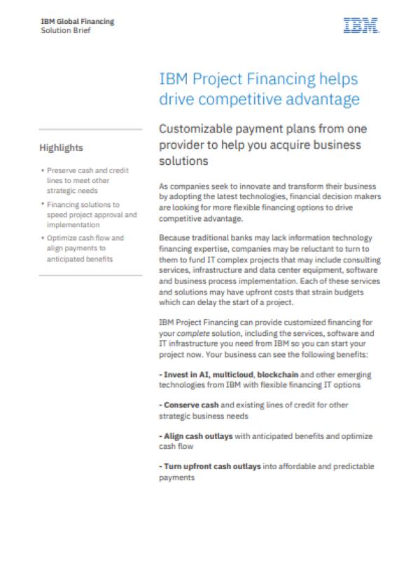 IBM Project Financing hilft Wettbewerbsvorteile zu steigern