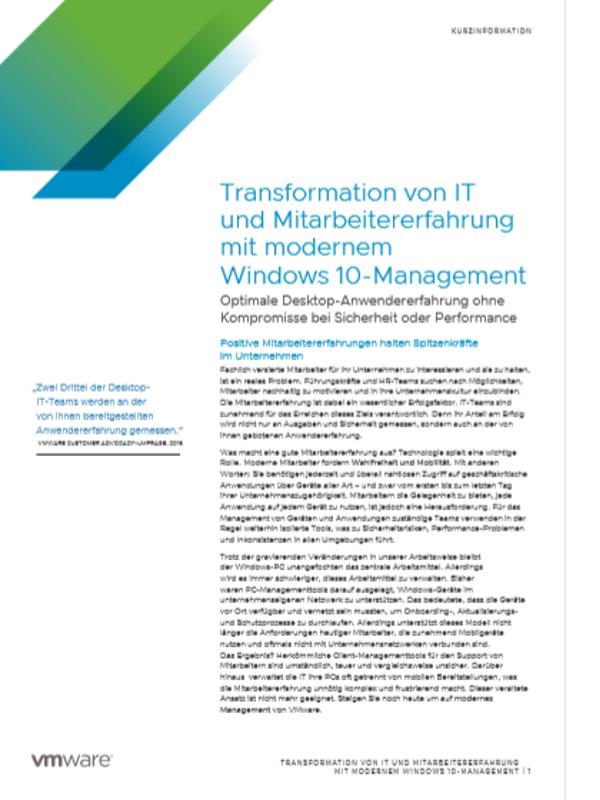 Transformation von IT und Mitarbeitererfahrung mit modernem Windows 10-Management