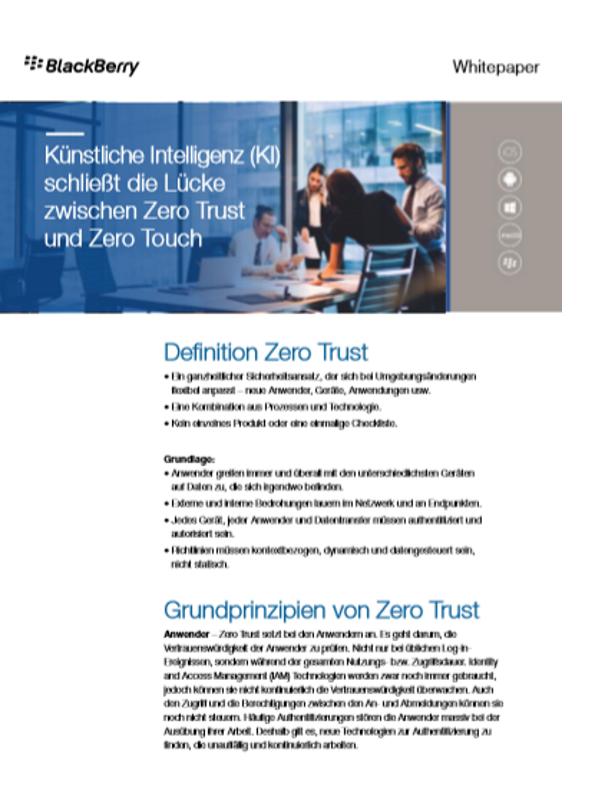 Künstliche Intelligenz (KI) schließt die Lücke zwischen Zero Trust und Zero Touch