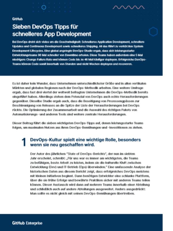 Sieben DevOps Tipps für schnelleres App Development