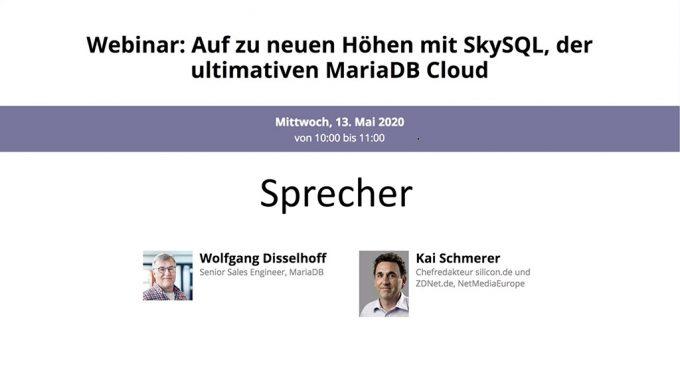 MariaDB: SkySQL-Webinar (Screenshot: ZDNet.de)
