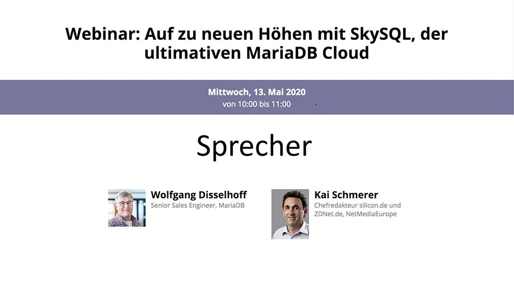 Webinar-Aufzeichnung: Auf zu neuen Höhen mit SkySQL, der ultimativen MariaDB Cloud