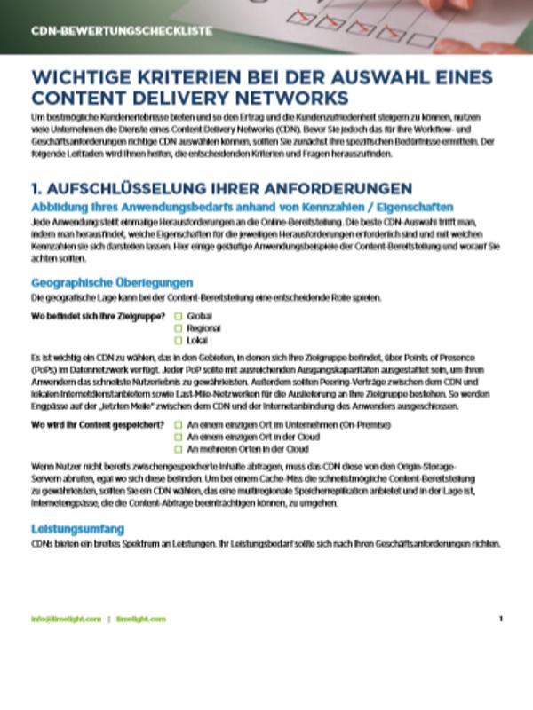 CDN-Bewertungscheckliste: Wichtige Kriterien bei der Auswahl eines Content Delivery Networks
