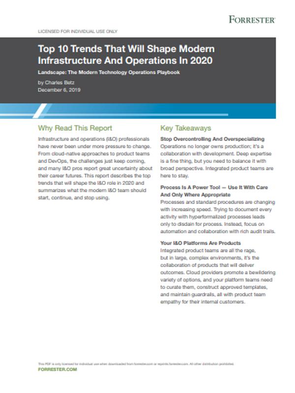 Top 10 Trends, die moderne Infrastruktur und Operations im Jahr 2020 prägen werden