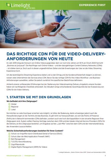 Das richtige CDN für die Video-Delivery-Anforderungen von heute
