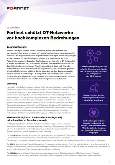 Fortinet schützt OT-Netzwerke vor hochkomplexen Bedrohungen