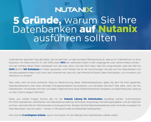 5 Gründe, warum Sie Ihre Datenbanken auf Nutanix ausführen sollten