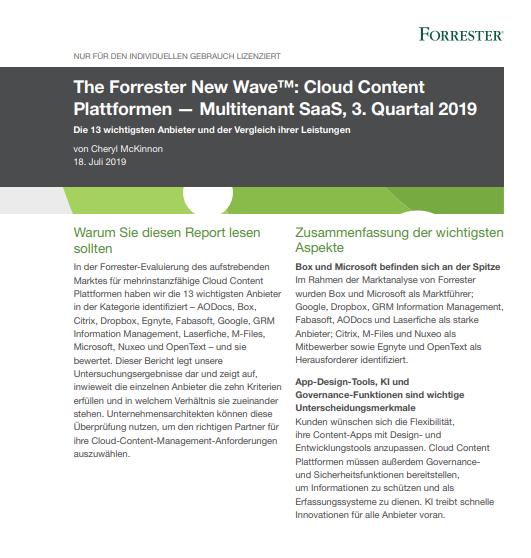 The Forrester New Wave™: Cloud Content  Plattformen — Multitenant SaaS, 3. Quartal 2019