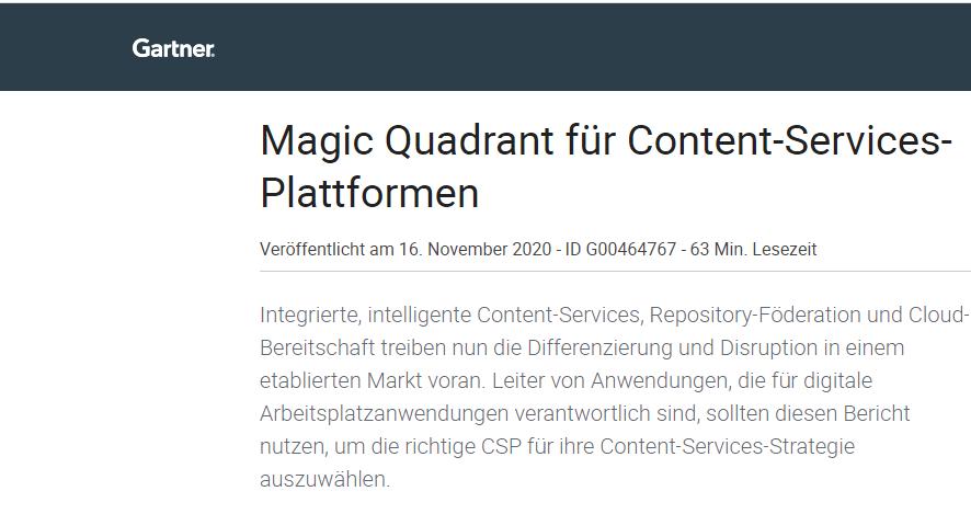 Gartner Magic Quadrant for Content Services Platforms 2020