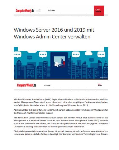 Windows Server 2016 und 2019 mit Windows Admin Center verwalten